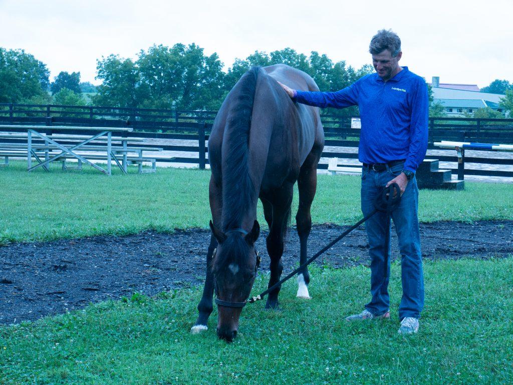 Boyd Martin leads horse as it grazes